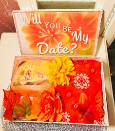 Date night box. fall date night youarebeautifulbox. date night Flower Collage, Collage Art, Date Night Questions, Fall Dates, Perfect Gift For Girlfriend, I Love You Baby, Orange Aesthetic, Fake Flowers, Fall Decor