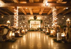 Cozy cabin ceremony // Lauren Fair photography // http://blog.theknot.com/2013/12/16/a-cozy-and-glitzy-winter-wedding/