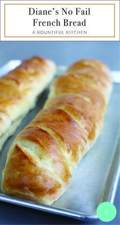 Diane's No Fail French Bread is the best French bread recipe ever. Simple ingr… Diane's No Fail French Bread is the best French bread recipe ever. Simple ingredients, most of which you already have in your pantry! Best French Bread Recipe Ever, French Bread Recipes, The Best Bread Recipe Ever, Artisan Bread Recipes, Amish Recipes, Pan Relleno, Bread Machine Recipes, Bread Baking, No Yeast Bread