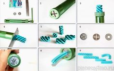 Spiral beads with extruded clay.  #Polymer #Clay #Tutorials