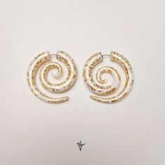 Fake Gauge Earrings - Gold and white /Faux gauge/Gauge earrings/spiral gauge/ fake piercing