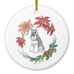 Lori Bush Schnauzer Ornament on Zazzle!  #schnauzer #miniatureschnauzer #Christmas #ornament