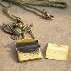 Harry Potter Owl Hedwig Hogwarts Acceptance Letter Necklace