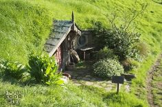 Hobbit house in garden.