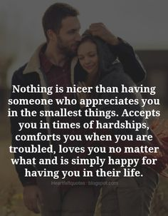 Love Quotes : Nothing is nicer than having someone who appreciates you in the smallest things. Love Quotes : Nothing is nicer than having someone who appreciates you in the smallest things. Cute Couple Quotes, Cute Love Quotes, Love Quotes For Him, Quotes To Live By, Me Quotes, Good Guy Quotes, Texas Quotes, Qoutes, Promise Quotes