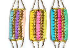 Neon Friendship Bracelet Tribal Leather by BooandBooFactory