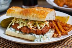 Crispy Beer Battered Fish Sandwich: Light flaky, tender and moist cod wrapped in a beer batter and fried until crispy and golden brown; served in a baguette with coleslaw and tartar sauce. Fish Sandwich, Sandwich Recipes, Fish Recipes, Seafood Recipes, Cooking Recipes, Recipies, Ceviche, Ideas Sándwich, Kitchens