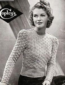 Vintage 1940s knitting pattern-ladies bunch of grapes jumper-free uk postage | eBay