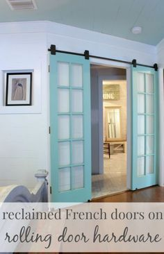 recycle back french door instead of new barn door on laundry room? Replace a swinging door with rolling door hardware, great idea for any doorway in an awkward spot! Swinging Doors, The Doors, Entry Doors, Patio Doors, Sliding Barn Doors, Sliding French Doors, Diy Sliding Door, Front Entry, Inside Barn Doors