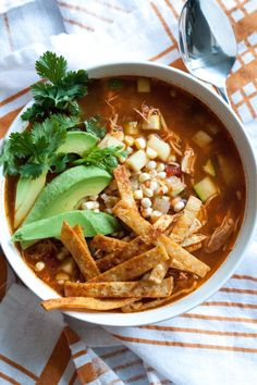 Slow Cooker  Chicken Tortilla Soup by oggiepanesalamedomani #Soup #Chicken #Tortilla #Healthy #Slow_Cooker