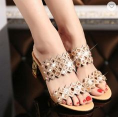 2016 New Style Rhinestone Cut Out Women's Party High Heels Slip - On Women's Sandals Summer Shoes Women's Tongue Sandals Slippers Chunky Heel Shoes, Shoes Heels, High Heels, Pumps, Trendy Shoes, Casual Shoes, Dress Casual, Womens Summer Shoes, Rhinestone Shoes