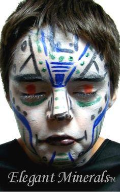Natural Robot Face Paint Design  Colors used: royal blue, aqua, black, white, red