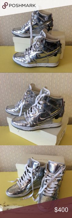"""Nike Dunk Ski Hi liquid silver wedge sport shoes 7 These hard to find limited edition women's Nike Dunk Sky Hi Liquid Silver lace-ups are in excellent pre owned condition with very slight sign of wear.  A couple of very light scuffs that don't show in the photos.  2"""" hidden wedge heel, padded collar, cushioned insoles, lined in leather.  They are a US size 7, style number 659484-001.  No box. Nike Shoes Athletic Shoes"""