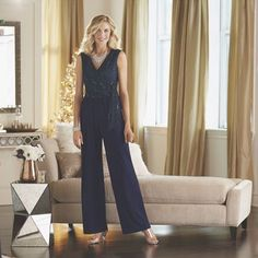 Lace Bodice Jumpsuit from Midnight Velvet. A brilliant reason to jump on this trend, this jumpsuit has flowing pant legs and a sequined lace bodice. Lace Bodice, Suits You, Mother Of The Bride, Polyester Spandex, New Look, Jumpsuit, V Neck, Legs, Occasion Dresses