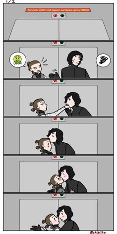 """1/2shikikosw: """"Reylo in a room which doors will not open unless they kiss"""""""