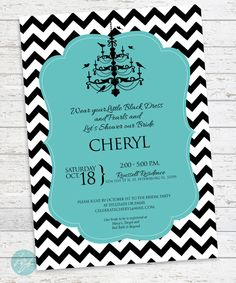 Breakfast at Tiffany's Bridal Shower Invitation with Chandelier and Chevron Print DIGITAL FILE