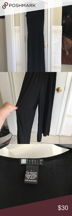 Women's wide leg jumpsuit Carol Little, solid black, one piece women's sleeveless jumpsuit. Wide leg. Like new condition. Carole Little Pants Jumpsuits & Rompers