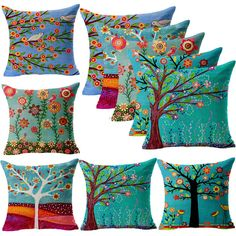 Vintage Flower Tree Bird Linen Throw Pillow Case Cushion Cover Sofa Home Decor