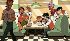 the voltron crew... this reminds me of the gangsey hanging out at nino's, for some reason