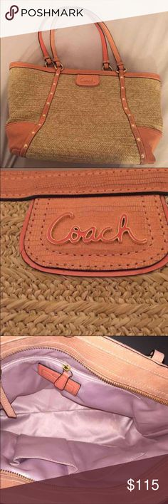 COACH Straw Leather Bag Straw Tote  Minor marks/scuffs in inside and outside  Good condition overall Coach Bags Shoulder Bags