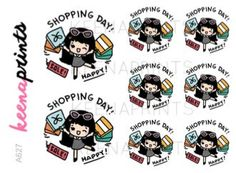 A627 | SHOPPING stickers - Wednesday shop stickers, emotion stickers, planner…