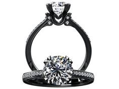 Victorian inspired 14k black gold Engagement Ring Diamond Ring 1.25 ct VVS White Sapphire W18WS14BK on Etsy, $1,160.00