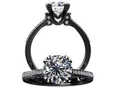 Victorian inspired 14k black gold Engagement Ring Diamond Ring 1.25 ct VVS White Sapphire W18WS14BK on Etsy, $1,160.00