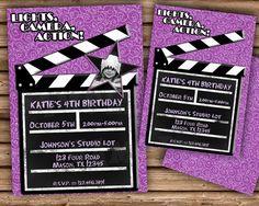 Hollywood Birthday Invitation Hollywood by PartyPrintExpress purple