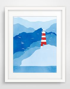 Lighthouse Large Poster Nautical Art Print Large Wall por evesand, $32.00