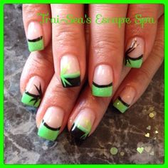 Bright Green & Black with design by TraiSeasEscape from Nail Art Gallery