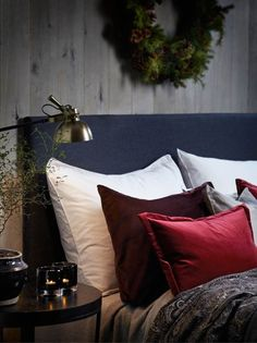 Winter Decor By Slettvoll Home Collection This is such a cozy winter bedroom. I love the gray headboard with the red and burgundy pillows. Maroon Bedroom, Navy Bedrooms, Bedroom Red, Cozy Bedroom, Bedroom Colors, Home Decor Bedroom, Bedroom Ideas, Bedroom Ceiling, Burgundy Bedding