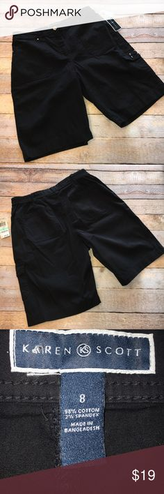 "NWT Karen Scott Bermuda Shorts ✔️NWT Karen Scott Bermuda Shorts ✔️Zip and button closure at front with elastic on sides of waist ✔️Side and Back pockets with one cargo pocket on leg ✔️Summer Weight fabric 98% Cotton, 2% Spandex ✔️Waist 30"" unstretched (36"" stretched) ✔️Waist to Hem 19"" ✔️Inseam 8.5"" ✔️Bought these and have never worn them. Time for a new home. ❤️ Karen Scott Shorts Bermudas"