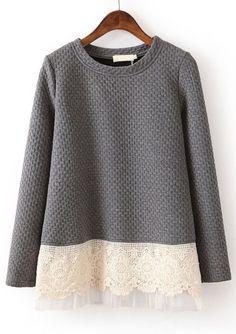 Grey Lace Loose Sweatshirt: Love it