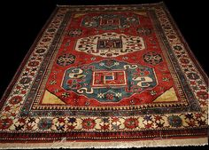 Cloudband Karabagh rug with Swastika motif, Antique Rugs of the Future Project