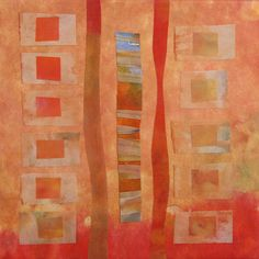 """Between 2"" by Virginia A. Spiegel.  Inspired by the changing of leaves in Autumn. Nonwoven fabric, acrylic paint, rayon thread on stretched canvas.  $150 http://www.virginiaspiegel.com/BetweenSeries.html"