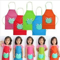 2016 New Cute Kids Child Children Waterproof Apron Cartoon Frog Printed Painting Cooking Apron in stock