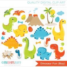 ON SALE Clipart Combo Dinosaur Fun / Boy por MyClipArtStore