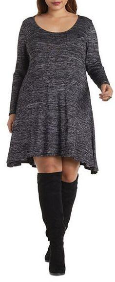 Plus Size Marled Swing Dress