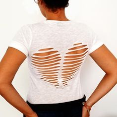 DIY: heart cutout back tee