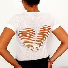DIY: heart cutout back tee