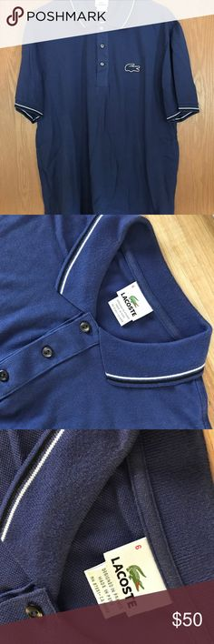 Men's Lacoste Polo Shirt Size 6 (Large) w/ double piping.   Pre-Owned. Worn very few times. Excellent Condition.   Comes from a Smoke Free home. Lacoste Shirts Polos
