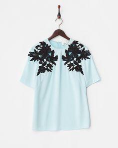 スカイブルー guipure floral lace oversized t-shirt - 3.1 フィリップ リム|ブランド通販(セール)なら【グラムール セールス】