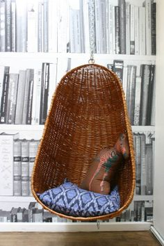 """Have i metioned my love for a hanging chair or two.Vintage Hanging Chair in the """"Library"""""""