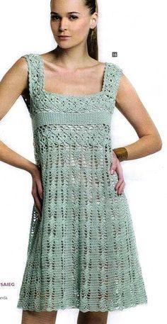 Chorrilho de ideias: Vestido decote quadrado verde agua em crochet