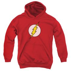 Behold the Flash - Flash Logo Youth Hoodie. Now your little one can be part of the hype with this red colored, officially licensed youth hoodie made of 50% cotton/50% polyester. This youth hoodie is p