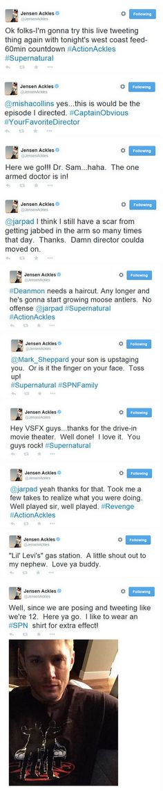 Almost all of Jensen's live tweets from 10/21/14 for 10x03 - the episode he directed.