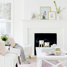 Ahhhh love this bright refreshing room The pops of color are perfect and charming. Via - Architecture and Home Decor - Bedroom - Bathroom - Kitchen And Living Room Interior Design Decorating Ideas - White Fireplace, Living Room With Fireplace, Fireplace Design, Living Room Decor, Living Rooms, Family Rooms, Living Spaces, Living Room Inspiration, Home Decor Inspiration