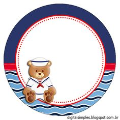 Nice Sailor Bear Toppers or Free Printable Candy Bar Labels. Nautical Cards, Nautical Baby, Nautical Theme, Baby Shower Marinero, Luau Photo Booths, Candy Bar Labels, Baby Posters, Baby Clip Art, Baby Shawer