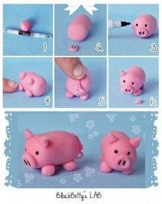 cerdo en fimo, arcilla, porcelana, pasta flexible etc, paso a paso