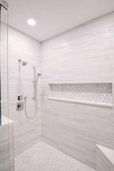 Bathroom Niche, Master Bathroom Shower, Upstairs Bathrooms, Bathroom Layout, Bathroom Interior Design, Small Bathroom, Modern Bathroom Tile, Bathroom Ideas, Niche In Shower
